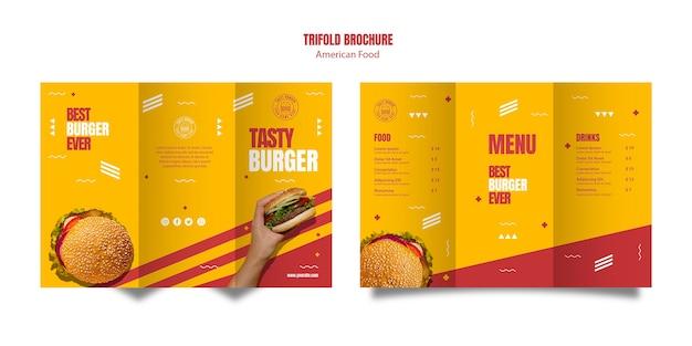 ハンバーガーアメリカ料理3つ折りパンフレットのテンプレート