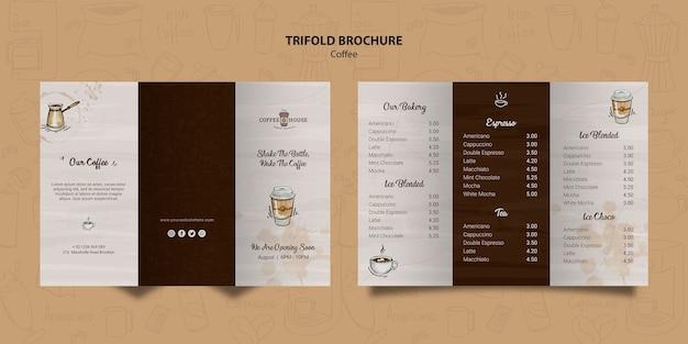 コーヒーショップ3つ折りパンフレットのテンプレート