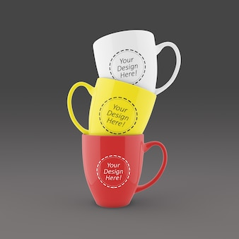 3つのスタックされたコーヒーマグのモックアップデザインテンプレートを簡単に編集できます
