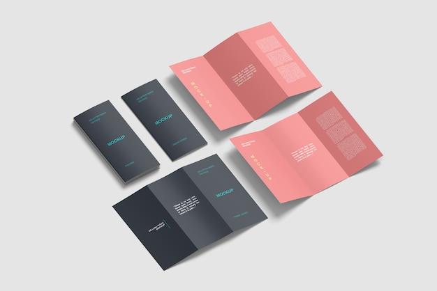 等尺性3つ折りパンフレットモックアップセット