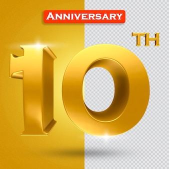 황금 스타일의 3d 10주년