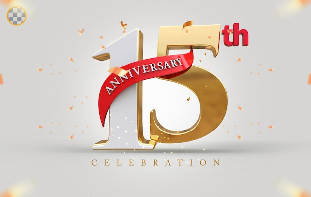 3d 15th anniversary with golden style