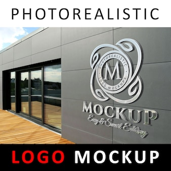 ロゴモックアップ -  3dメタリッククロムのロゴマークの会社のファサードウォール1