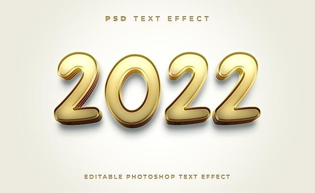 Шаблон текстового эффекта 3d 2022 с золотым цветом