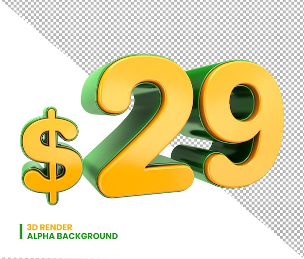 3d 29 доллар цена знак 3d номер