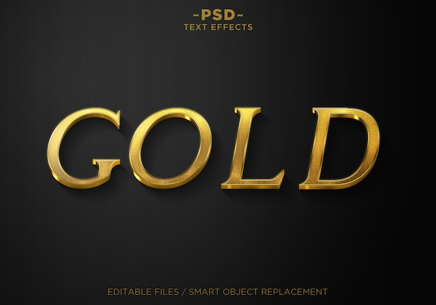 3dゴールドスタイル3エフェクトテンプレートテキスト