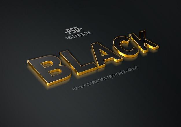 3dリアルなブラックゴールド3編集可能なテキスト効果