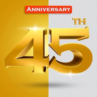 황금 스타일의 3d 45주년