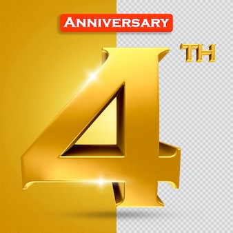 황금 스타일의 3d 4주년
