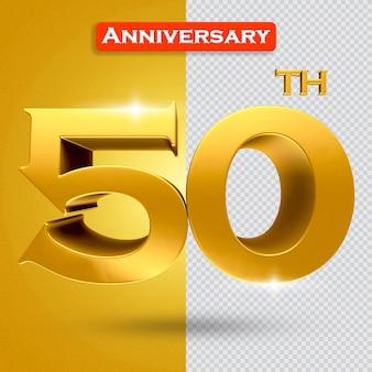 황금 스타일의 3d 50주년