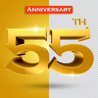 황금 스타일의 3d 55주년