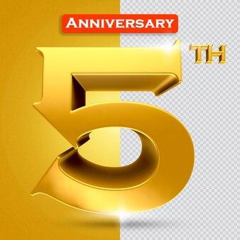 황금 스타일의 3d 5주년