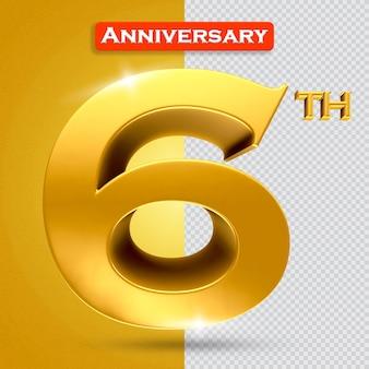 황금 스타일의 3d 6주년