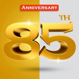 황금 스타일의 3d 85 주년