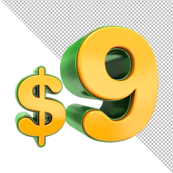3d 9 знак цены доллара 3d текст