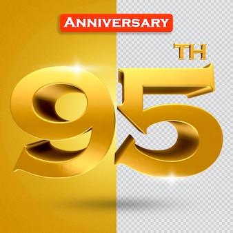황금 스타일의 3d 95 주년