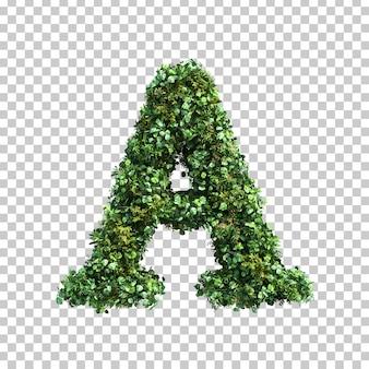3d-рендеринг зеленых растений алфавита a
