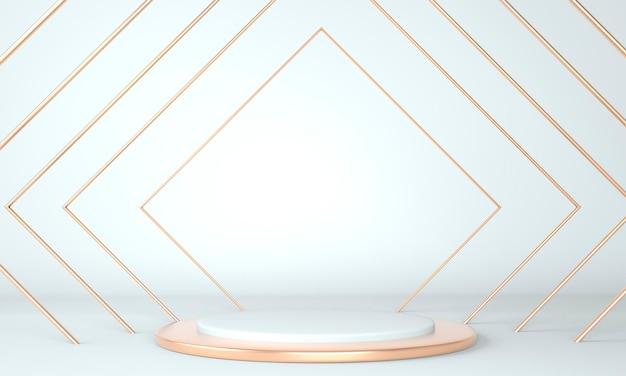 3d 추상적 인 배경, 제품 표시를위한 장면 기하학 모양 연단을 모의