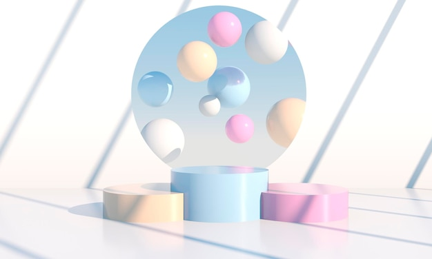3d abstract podium with geometrical shapes