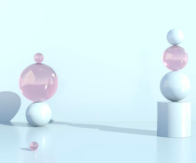 제품 표시를위한 3d 추상 장면 기하학 모양 연단