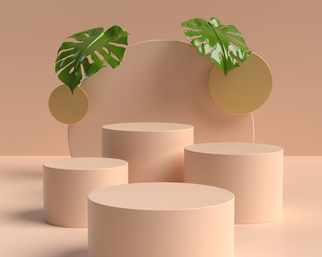 Подиум формы геометрической формы абстрактной сцены 3d для демонстрации продукта Premium Psd