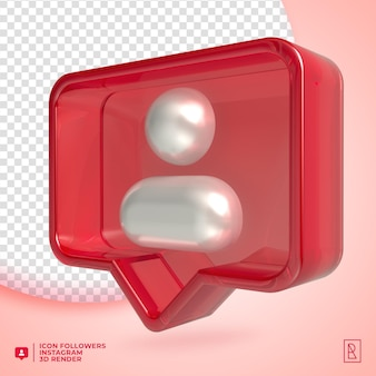 3d acylic followers instagram icon isolated