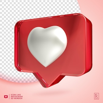 3d acylic like instagram icon isolated