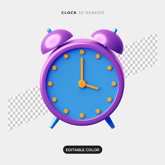 3d alarm clock icon mockup isolated