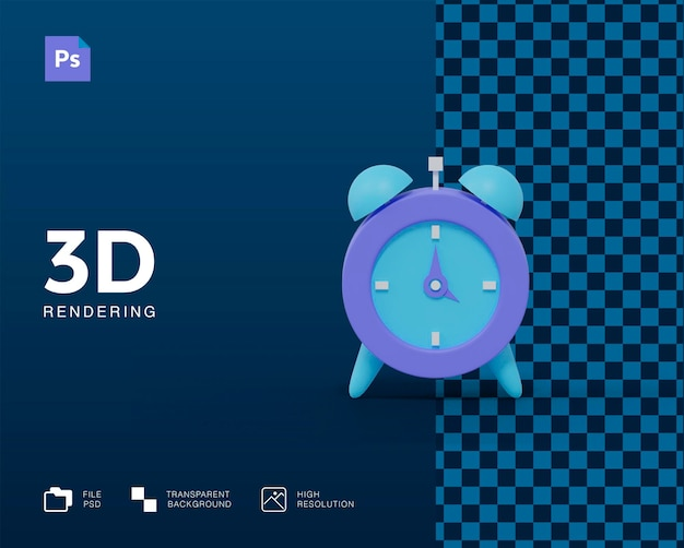 3d alarm clock icon rendering isolated