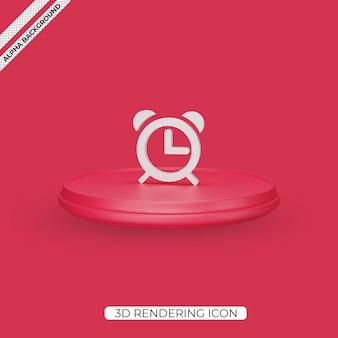 3d alarm clock render icon isolated