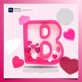 3d алфавит b с сердцем значок иллюстрации