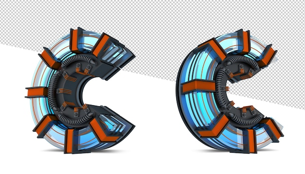 3d алфавит синий неоновый свет с медным проводом