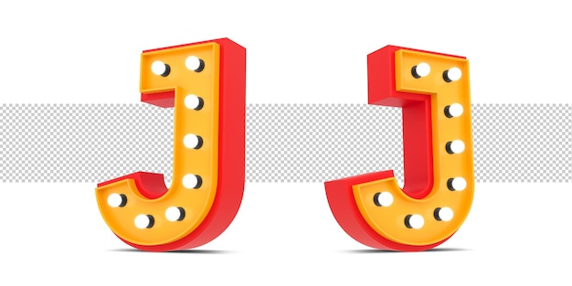 3d alphabet broadway style with light bulb, 3d rendering