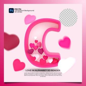 3d алфавит c с сердцем значок иллюстрации