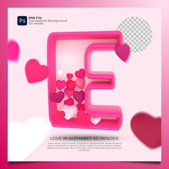 3d алфавит e с сердцем значок иллюстрации