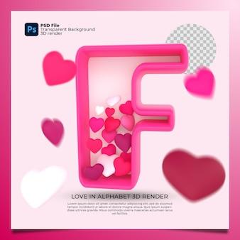 3d алфавит f с сердцем значок иллюстрации