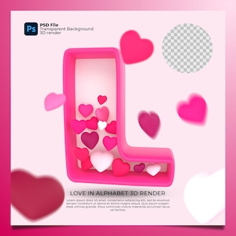 3d alphabet l with heart icon illustration