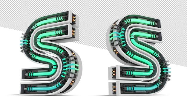 緑のネオンの光の効果を持つ3 dアルファベット