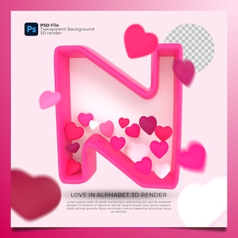 3d alphabet n with heart icon illustration