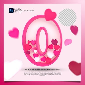3d alphabet o with heart icon illustration