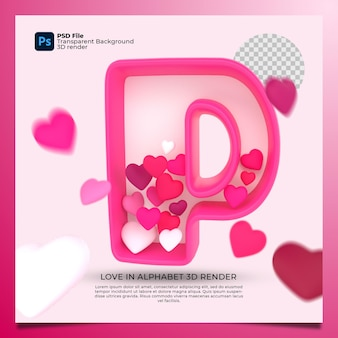 3d alphabet p with heart icon illustration