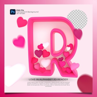 3d alphabet r with heart icon illustration