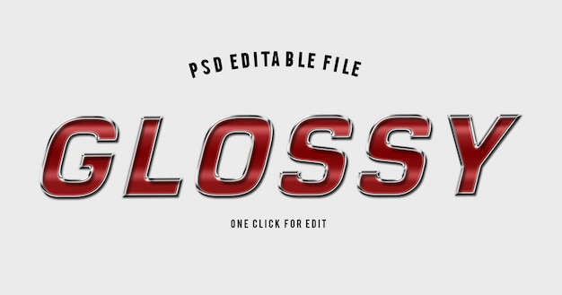 3d alphabet red glossy text effect mockup
