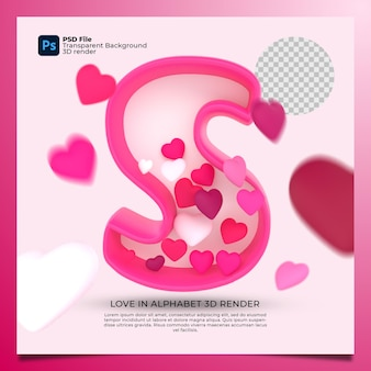 3d alphabet s with heart icon illustration