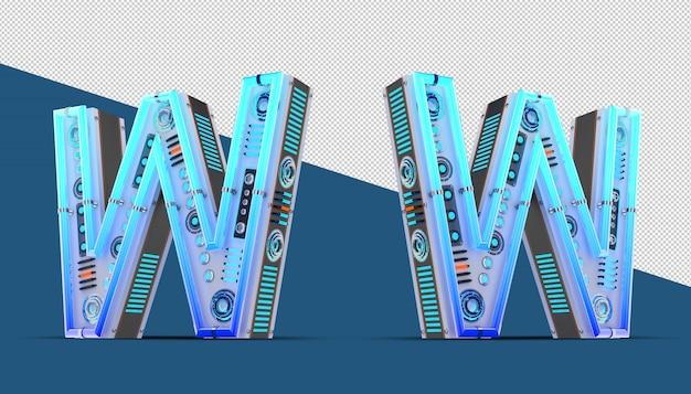 Алфавит 3d с голубым эффектом неона и неонового света.