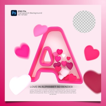 3d alphabet a with heart icon illustration