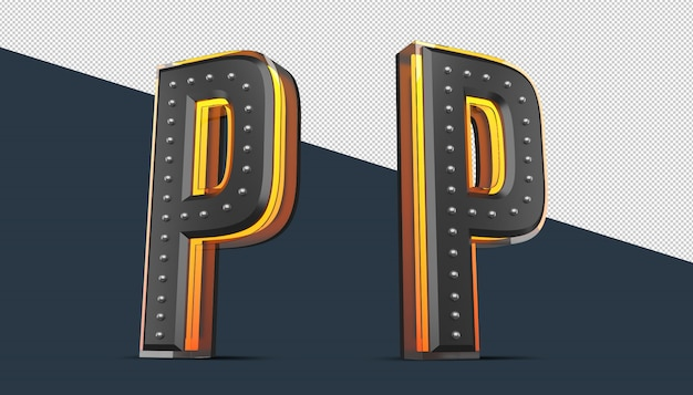 3d alphabet with pin decoration and neon light effect