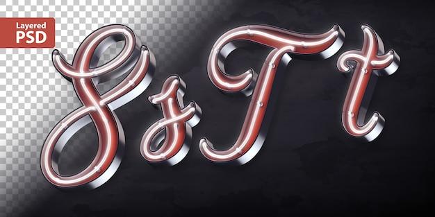 3d alphabet with shining neon shape
