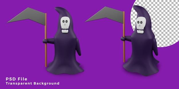 3d ангел смерти хэллоуин значок активы дизайн иллюстрация с различным углом связки высокого качества