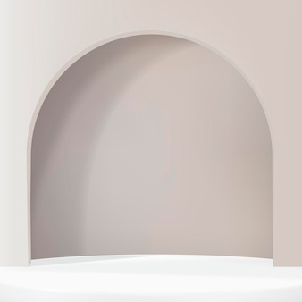 3d arch product backdrop psd in brown simple style